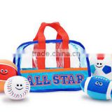 cute plush stuffed kids soccer ball, baseball, football and basketball in sports bag toy/custom plush toy