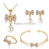 New Elegant Gold Plated Crystal Imitation Pearl Bowknot Necklace Stud Earring Bracelet Ring Set for Women Wedding Jewelry Set