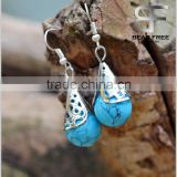 Vintage Silver Brass Turquoise Drop Earrings for Women