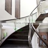 wood step close riser glass rails curved Staircases