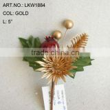 "2014 New Artificial Christmas Gold Flower Pick 5"" Artificial Sun Flower With Berries"