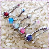 High Polish Opal Design Stainless Steel Belly Navel Ring Navel Piercing Jewelry [OB-052]