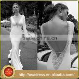 AR08 Alibaba Romantic Vintage V Neck Crystal Beaded Beach Casual Long Sleeve Sexy Wedding Dress Patterns                                                                         Quality Choice