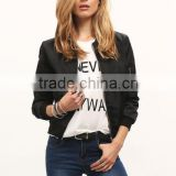 SheIn Black Zipper Stand Collar Crop Women Model Bomber Jacket                                                                         Quality Choice