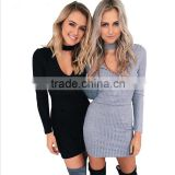 sexy v neck fall sweater halter grey and black ladies mini dress DME-005