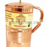 IndianArtVilla Pure Copper Luxury Jug Pitcher with Lid 1300 ML - Storage Drinking Water Home Hotel Restaurant Good Health