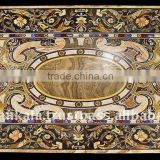 Black Marble Stone Inlaid Dining Table Top Semi Precious Stone Inlay Table Top