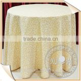 Embroidery pattern yellow table cloth/bridal round table cloth/restaurant shiny table cloth