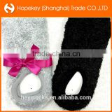 2015 women feather yarn footie socks, boat socks, invisible socks, with anti-slip and ribbon packing