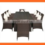 HL6063 8 seaters rattan dining table chairs garden outdoor furniture space saving furniture