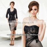 2014 strapless appliqued lace wholesale 3/4 sleeve knee length mother of the bride dress with jacket CWFam5645