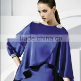 2013 long beaded bolero royal blue chiffon girls bridal wedding cape CWFaJ4710