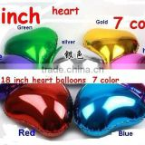 "Solid Plain foil balloons , Assorted Solid Color 18"" Plain Colour Heart Shaped Foil Balloon"