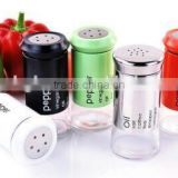 wholesale glass spice jar salt petter bottle with metal coating