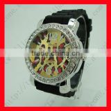 2013 New Style Silicone Rhinestone Diamond Face Geneva Platinum Watch Ladies