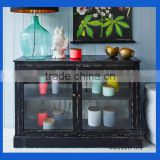 Vintage Looked Solid Wooden Furniture Rustic Glass Fronted Buffet Cabinet