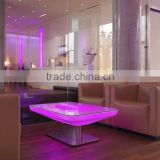 White plastic RGB luminous night club led light dining table with glass top