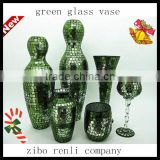 Table Decor Turquoise Glass Craft Set Handmade Different Types Mosaic Vases