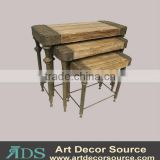 S/3 Wooden w/Metal Table
