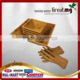Wood Salad Bowl Set (Bamboo, Set Of 4) Best For Serving Salad, Pasta, Soup, and Fruit. Bowls Pba Free / Eco-Friendly