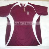 Mens custom 100% polyester coolmax maroon with white mesh panels embroidered open v neck tee shirt