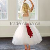 Children frocks designs Party Long Dress with red color big bow flower beauty new model tulle kids wedding dresses