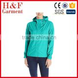 Fashionable windproof PU material rain jacket hood for women