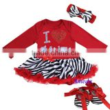 Xmas Baby Red Zebra Rhinestone I Love Santa Long Sleeves Bodysuit Pettiskirt Jumpsuit Headband Crib Shoes 3pcs NB-18M