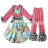 CH00303YIWU BOYA Cotton milk silk ruffle dress kids clothes farm cow prints wearing boutique dress