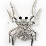 wholesale Imitation Rhodium Plated / Epoxy black eyes spider/ Clear Rhinestone/Cute Spider Brooch Pins