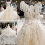 LS00308 flower pattern elegant see through muslim lace bridal lehenga gown empire wedding dress