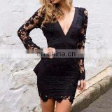 2017 newly black elegant lace long sleeve dew chest bandage dress sexy deep V neck mini evening dresses for women party wear