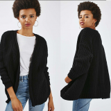 Black Oversized Womens Cotton Open Knit Cardigan Sweater