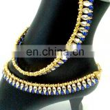2015 fancy Anklet - Fashionable Indian Anklets - Payal-Beautiful Design Gold Plated Kundan Anklets Wholesale