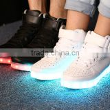 2016 New Wave pure black/white sport casual shoes with 7 colors LED luminous lights and USB charger cable