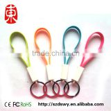 Portable micro USB Cable silicone key chain data line Multi-function charging lines Noodles data cable