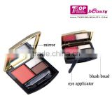 Fashion design 1 color blush & 2 color eyeshadow makeup palette with mirror