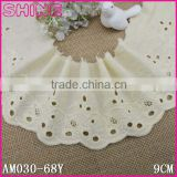 "China Factory Wholesale Stock Small Width DIY Cheap 3.67"" Creamy White Embroideried 9cm100% Cotton Crochet Lace Fabric"