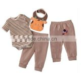 Stripe khaki infant 3 piece outfits cows baby 3pcs sets bibs romper toddle cloth sets kids pajamas suits                                                                         Quality Choice