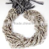 "2 Strand Genuine AAA Black Rutile Faceted Gemstone Rondelle Beads 3-4mm 13"" Long,Black Rutile Rondelle Beads"