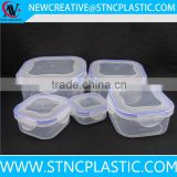 5-Piece Clip & Lock lids Square SCHOOL OFFICE Airtight Seal Fit Fresh Cool Coolers Slim Lunch Packs