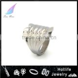 Fashion customized Jewelry shield design 316L stainless steel Wholesale special men ring