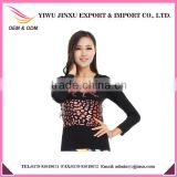 2015 New Fashion OEM Long Sleeve Leopard Image Printed Fashion Sexy Girl Plus Size Seamless Blouses for