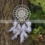 Plait Large White Dream Catcher - White Fringe White Crocheted Mandala - Custom dreamcatcher - Bohemian Crochet Dream Catcher