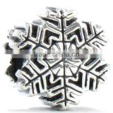 Winter Snowflake Bead Charm 925 Sterling Silver Fit Compatible Bracelets and Bangles antique Silver snowflake oxidation bead
