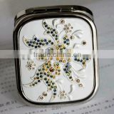 Glass Folding Pocket Cosmetic Mirror/Compact Makeup Mirror/wedding gift hand mirror jewelry