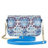 Fashion flora printed handbag leather, ladies African flora bag, long chain bag HD25-176