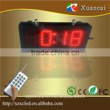5'' Red brightness adjustable LED digital timing clock 7 segment 5'' outdoor digits time clock