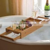100% Bamboo Bathtub Caddy with Extendable Sides Integrated Wineglass Holder new design bathroom rack bathtub caddy                                                                         Quality Choice