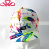 WL057-19 100%Cotton popular candy color feather printing snapback hat